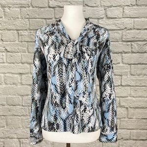 Ellen Tracy Blue Tie Neck Abstract Dress